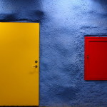 Yellow, red and blue