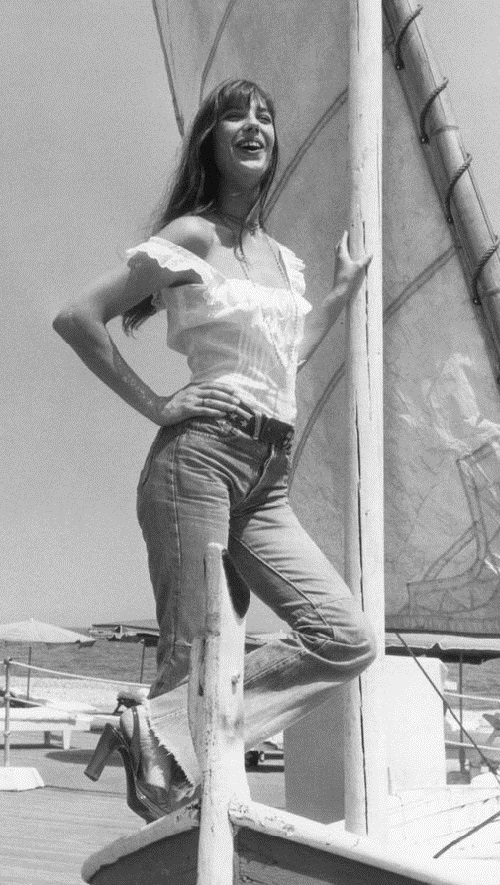 English actress Jane Birkin in the then-fashionable jeans on the Cote d'Azur, 1973.