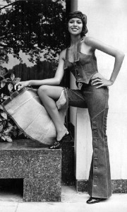 "The model in jeans, spring collection ""Miss Levi"", London, September 14, 1971."