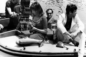 Anna Karina and Godard filming