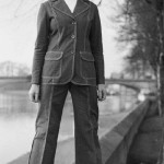 The woman on the river bank in denim suit over a white turtleneck. February 27, 1974.