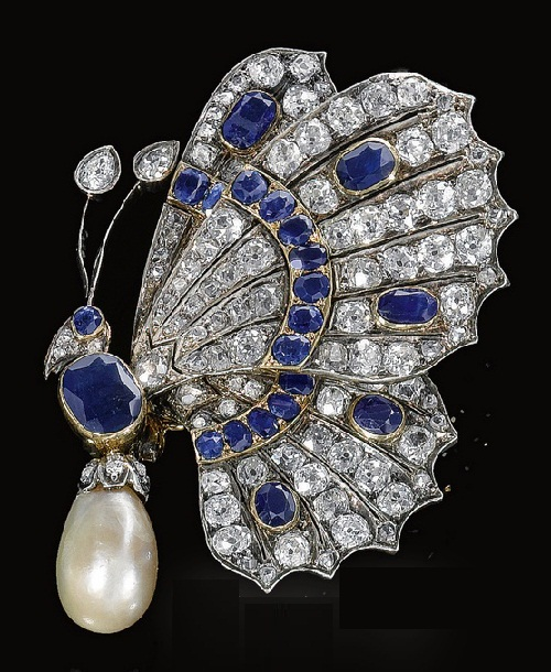 A late 19th century diamond, sapphire and natural pearl butterfly brooch