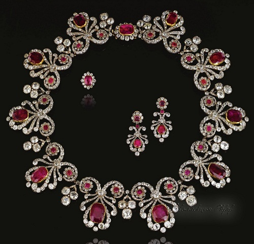An impressive ruby and diamond parure.