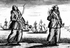 Anne Bonny and Mary Read. Engraving 1724