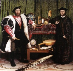 Hans Holbein the Younger 'Ambassadors', 1533 (Double Portrait of Jean de Dinteville and Georges de Selve). Oil and tempera on oak, National Gallery, London.