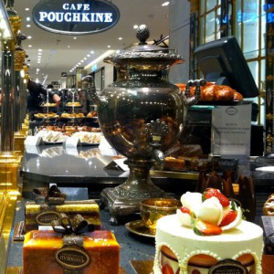 On the ground floor of the Printemps department store now sells desserts and pastries under the famous Russian brand