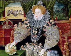 Portrait of Elizabeth to commemorate the defeat of the Spanish Armada (1588), depicted in the background. Elizabeth's hand rests on the globe, symbolising her international power.