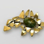 Smiths only gold jewelry - brooch with Charoits Autumn Leaves, 1974