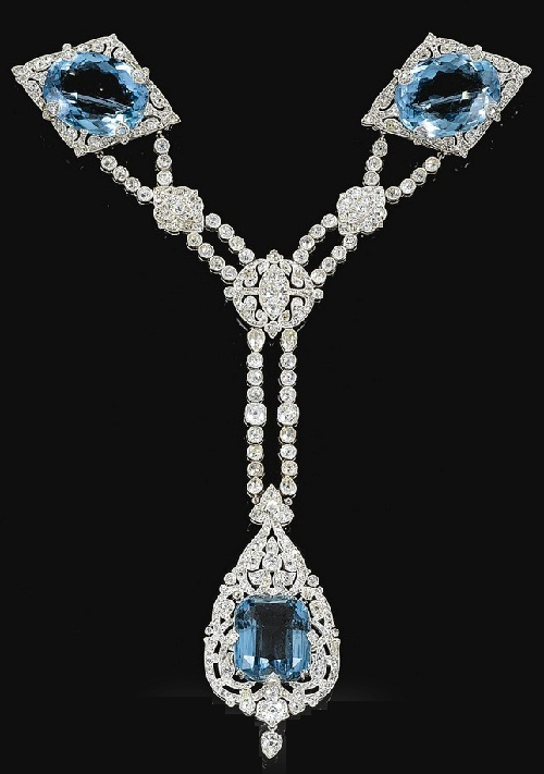The Olga aquamarine and diamond set, formerly belonging to Princess Paley. Cartier, 1912. Aigrette, necklacePrincess Olga Valerianovna Paley