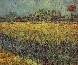 Vincent Van Gogh 'View of Arles with Irises in the Foreground, May, 1888 (Oil on Canvas, Arles, Van Gogh Museum, Amsterdam, The Netherlands, Europe)