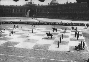 Live Chess game between the Red Army (black) and the Red Fleet (white). July 20, 1924.