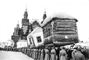 The parade of inflatable houses on Red Square, 1931