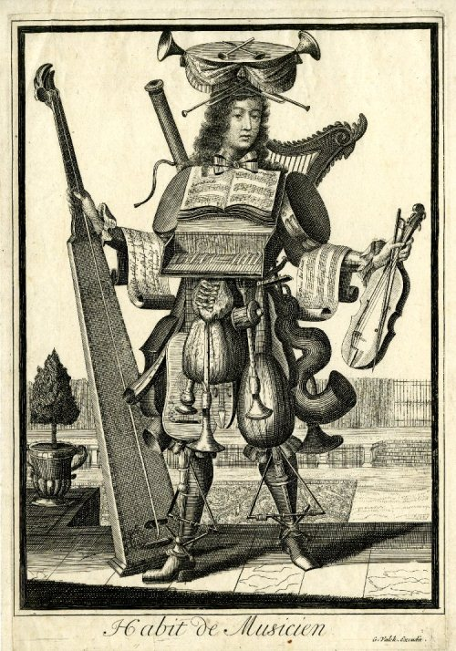 Musician. French seventeenth-century grotesque costumes