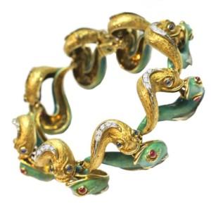 Bracelet in Art Nouveau style, 18K yellow gold, platinum, enamel, diamonds, rubies, emeralds, sapphires