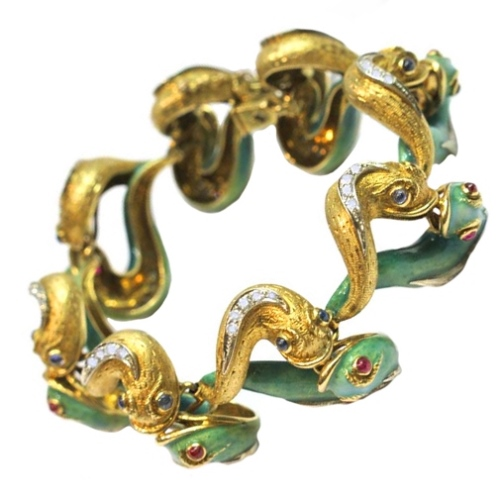 Bracelet in Art Nouveau style, 18K yellow gold, platinum, enamel, diamonds, rubies, emeralds, sapphires