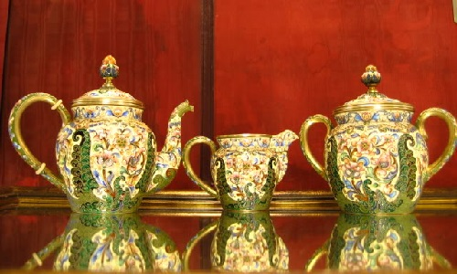 Beautiful enamel and silver antiques by Russian jeweler Feodor Ruckert