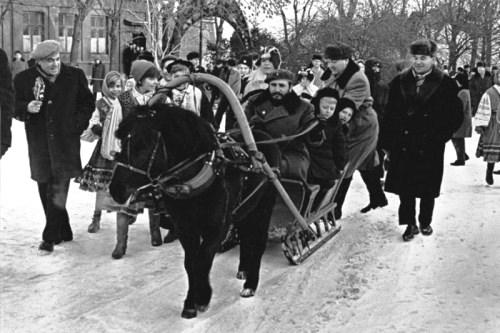 Fidel Castro in Russia. Fidel Castro rides a horse sleigh