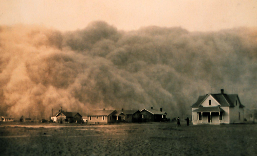 A Dust Bowl storm approaches Stratford, Texas in 1935