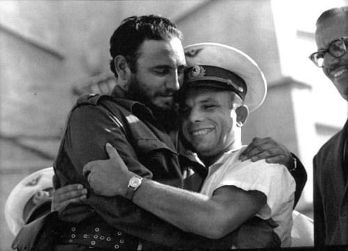 Fidel Castro and Yuri Gagarin. Havana, Cuba. 1961