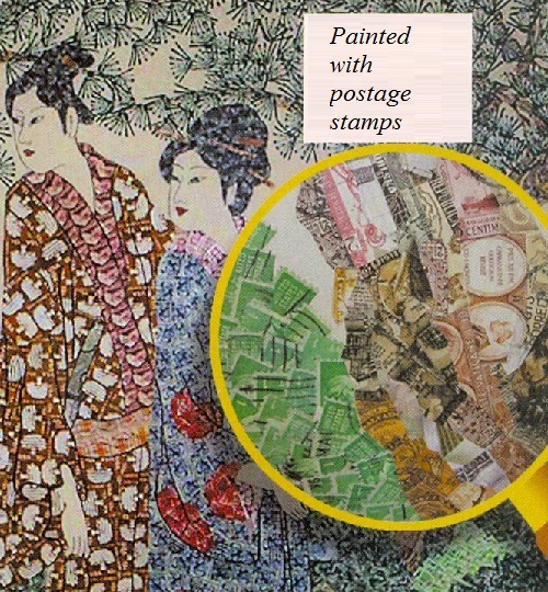 Painted with postage stamps