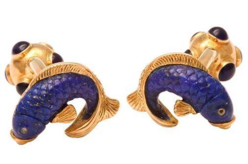 Cufflinks by Michael Kanners, 18K pink gold, lapis lazuli