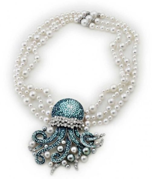 Necklace from the Italian House of SICIS, 18K white gold, diamonds, pearls and micro-mosaic