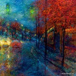 Colorful finger painting by Iris Scott, 28-year-old artist impressionist