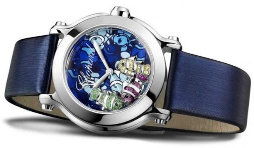 Watch Happy Fish with floating figures of fish from Chopard, 18K white gold, yellow sapphires, tsavorite, rubies, onyx