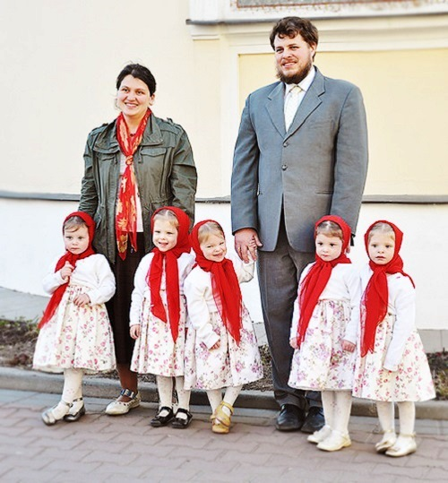 Dmitry, his wife and their five daughters - Elizaveta, Alexandra, Nadezhda, Tatiana and Varvara