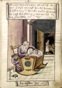 The birth of Matthaus Schwarz. The five-pointed star in the crib - ward off evil forces of the time
