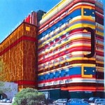 The rainbow suitcase building in St. Petersburg, Russia