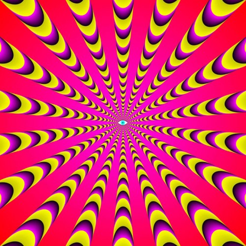 Kaleidoscope picture-illusion full of colors, based on the modern concept of Gestalt psychology. Optical illusions by Professor Akiyoshi