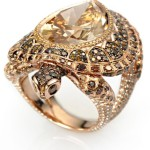Ring Chopard Animal World, pink gold, yellow pear-cut diamond, surrounded by cognac, brown and yellow diamonds