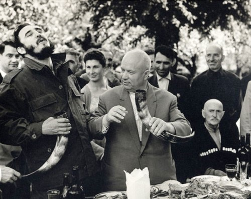 During his first visit to the USSR. Khrushchev and Fidel Castro in Georgia, 1963