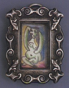 Ink and color pencil drawing by Picasso set in frame-shaped pendant for Dora Maar, c. 1936-1939