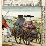 Matthaus rides in a cart with his parents, here he is 8 and a half years old