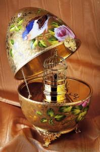 Limoges 24k Gold Birdcage Musical Egg with Singing Bird