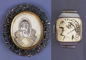 'Dora Maar au foulard' pencil drawing on board by Pablo Picasso, set in large open-worked steel brooch with simulated marcasite border, c. 1936-1939