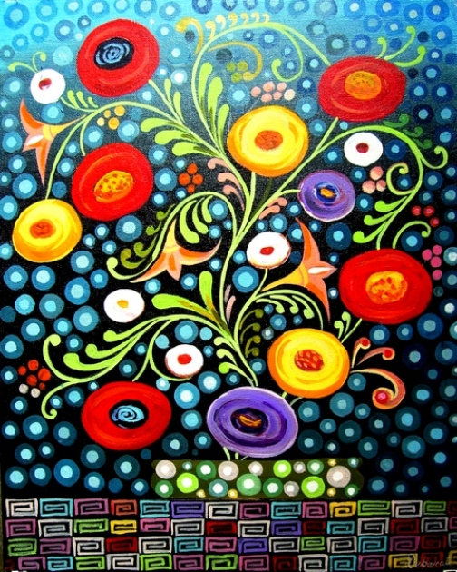 Colorful painting by Indian decorative artist Debarati Sarkar