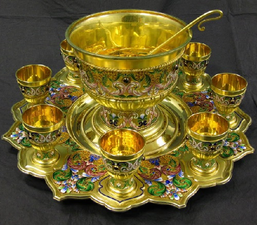 A large Russian silver punch set made by Fedor Ruckert for Faberge