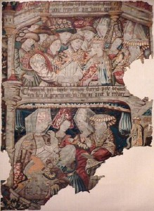 A tapestry of 1482 showing episodes from the Knight of the Swan story: at the bottom puppies are substituted for babies.