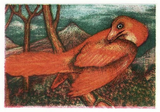 'Archaeopteryx' - Small three colour mezzotint.