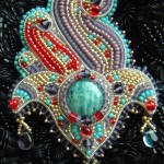 Bead embroidery by Olga Orlova. Hand Of Fatima Brooch