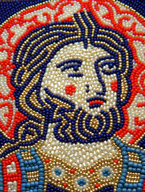 Beaded icon by Olga Orlova. Unknown Saint, 13th century,