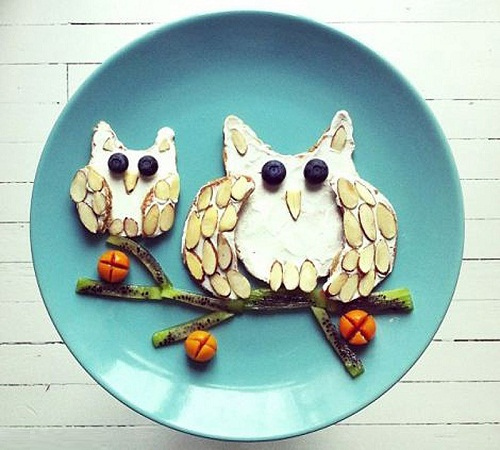 Berries, nuts and cheese for creating a couple of cute owls