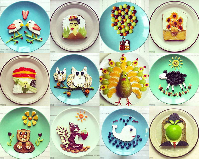 Colorful breakfast art by Ida Skivenes