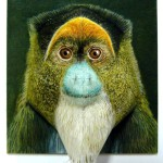 De Brazza's monkey. Partly three dimensional papercraft, painted with watercolour