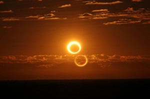 Eclipse photographed in the light of H-alpha