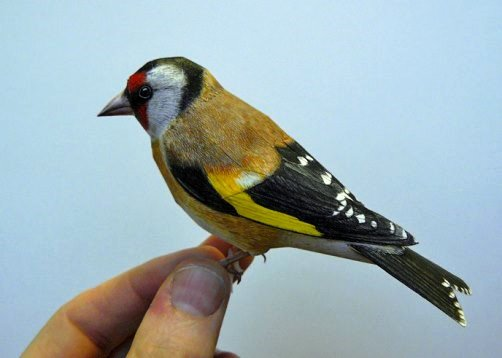Goldfinch. Made of paper.