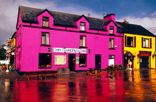 Ireland in colors. Colorful house Ring of Kerry, Ireland